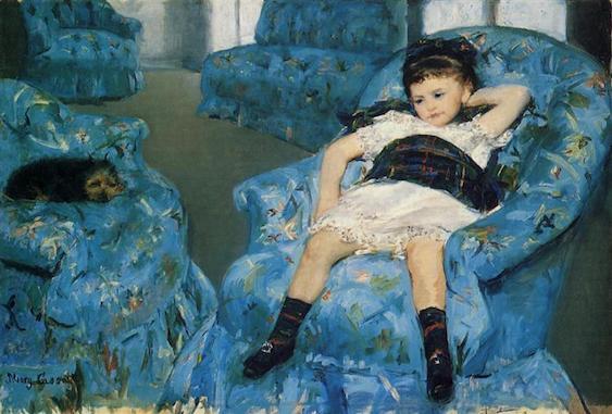 Mary Cassat, Petite fille dans un fauteuil bleu, crédit photo Musée d'Orsay